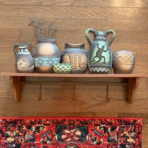 Boho Southwest Pottery Wood and Metal Shelf
